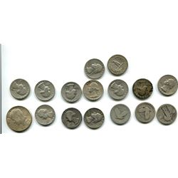 15 USA .900 SILVER QUARTERS AND ONE HALD DOLLAR