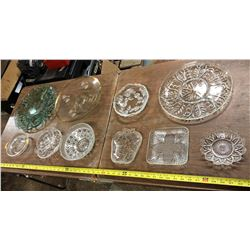 GLASS PLATES AND CANDY DISHES