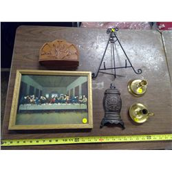 PICTURE, CANDLE HOLDERS, ETC.