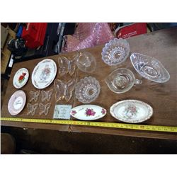 40TH AND 50TH GLASS DISHES, ETC.