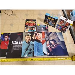 ASSORTED STAR TREK COLLECTIBLES. CD'S, CALENDAR, BOOK & MAGAZINES