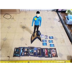 SPOCK VINYL FIGURE, CARDS, & OTHER ITEMS