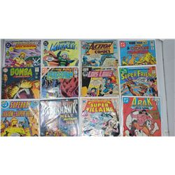 12 ASSORTED DC COMICS MOST VINTAGE. FIRESTORM, BOMBA, ACTION COMICS, LOIS LANE, ARAK & MORE
