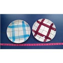 2 PICNIC BLANKET PATTERN PLATES - BLUE AND BURGANDY
