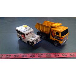 BUDDY L DUMP TRUCK AND TIN POLICE JEEP