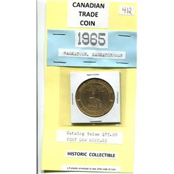 1965 SASKATOON, SK TRADE COIN - VERY LOW MINTAGE - CATALOGUE VALUE: $75.00