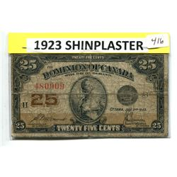 1923 SHINPLASTER - 25 CENT BANK NOTE - HISTORIC COLLECTIBLE