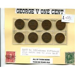 GEORGE V ONE CENT - SEVEN DIFFERENT 1928 - 1936
