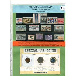 HISTORIC U.S. STAMPS - 15 DIFFERENT - MINT CONDITION - SPECIAL U.S. COINS
