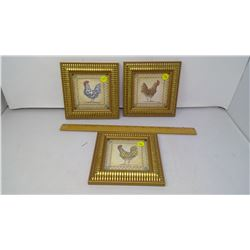 SET OF 3 FRAMED CHHICKEN PICTURES