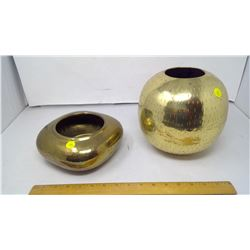 2 SOLID BRASS POTS MADE IN INDIA