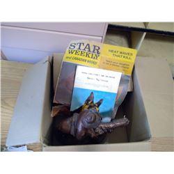 BOX OF MISC. JOHN WAYNE MAGAZINE, DAMAGED COWBOYS AND HORSE FIGURINE, RCMP SERVICE DOG SECTION