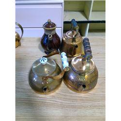 4 TEA POTS - 3 COPPER AND 1 CERAMIC