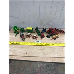 14 PIECES - TOY FARM EQUIPMENT, FORD, JOHN DEERE, CASE IH