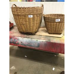 "2 WICKER BASKETS C/W HANDLES - VERY GOOD CONDITION (11"" H, 18""W AND 13""W,11"" H)"