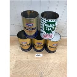 5 OIL TINS - 4 TEXACO AND 1 QUAKER STATE