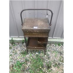 "WICKER SEWING BASKET - EXCELLENT CONDITION (29"" HIGH AND 18"" WIDE)"