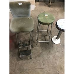 3 VINTAGE STOOLS - ALL NEED RECOVERING