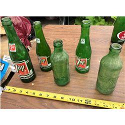 5 7-UP GLASS POP BOTTLES