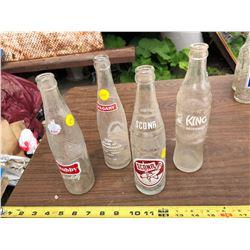 4 VINTAGE GLASS POP BOTTLES
