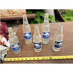 5 VINTAGE SUN CREST GLASS POP BOTTLES