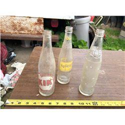 3 VINTAGE GLASS POP BOTTLES