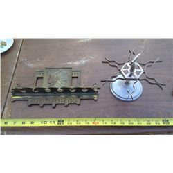 DECORATIVE SPOON RACK AND ACHILLES RUBBER STAMP HOLDER