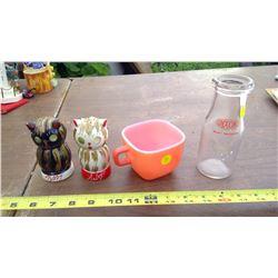 GLASSBAKE CUP, SALT AND PEPPER SHAKERS, MILK JUG