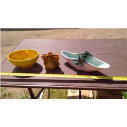 3 PIECES OF USA POTTERY - ROSEVILLE, HAEGER, AND HULLS PIECES