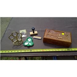 WOODEN JEWELRY BOX AND MISCELLANEOUS ITEMS
