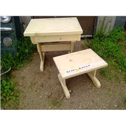 """CHILD'S DESK AND BENCH (20 1/2 X 14 3/4 X 20"""" H)"""