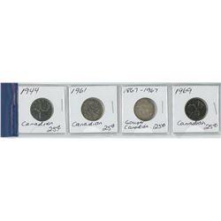 4 25 CENT COINS 1944-1969
