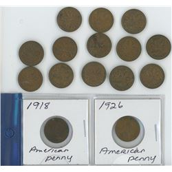 2 AMERICAN PENNIES (1918 AND 1926) AND 13 PENNIES (1940-1947)