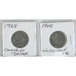 2 1968 CANDIAN $1 - NETHERLANDS $1
