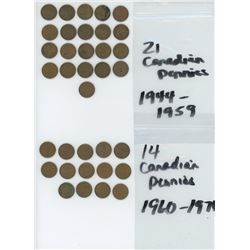 21 CANADIAN PENNIES 1944-1959 AND 14 CANADIAN PENNIES 1960-1976