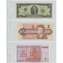 3 BILLS - AMERICAN $2 - 1976, $2 CANADIAN - 1986, ZIMBABEW 5 BILLION