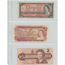 3 CANADIAN $2 - 1954, 1974, 1986