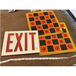 EXIT SIGN AND TIN BOARDS
