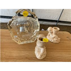 GLASS DOG PICTURE AND CANDLE HOLDERS