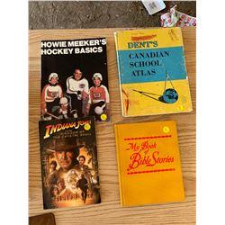 4 BOOKS - HOCKEY BASICS, INDIANA JONES, SCHOOL, BIBLE