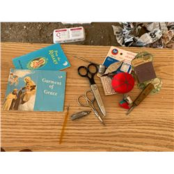 LOT OF SEWING ITEMS AND CHURCH BOOKLETS