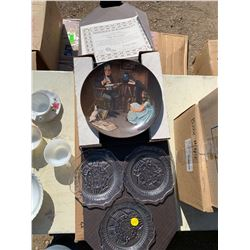 COLLECTOR PLATE AND 3 PRESSED GLASS PLATES