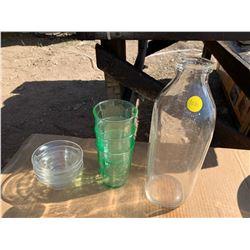 MILK JUG, GLASSES, SMALL GLASS BOWLS