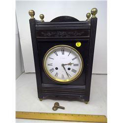 Vintage Gibson Paris Metal Analog Clock w/ Key