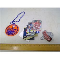 Coca-Cola Bottle Opener, Hockey Cards, and Oilers Beaded Medallion
