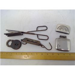 Vintage Yale Lock, Tongs, Scale, and Lighter