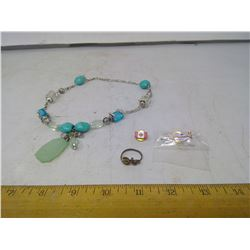 Blue Rock Necklace, Butterfly Ring