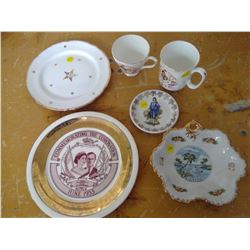 collectable plates, one diana and charles tea cup