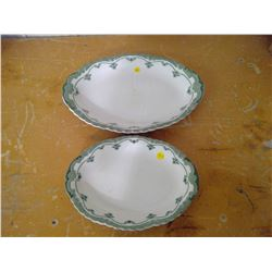 two green/white serving platters