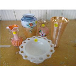 four vases, one candy dish